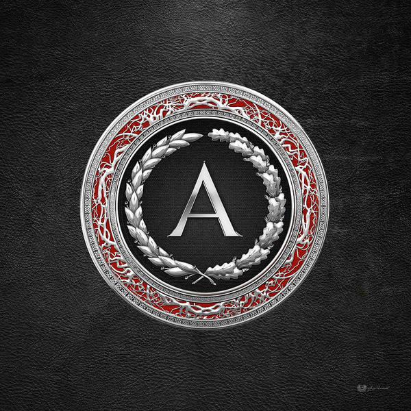 Digital Art - A - Silver Vintage Monogram On Black Leather by Serge Averbukh