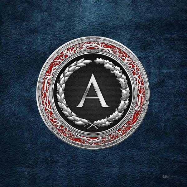 Digital Art - A - Silver Vintage Monogram On Blue Leather by Serge Averbukh