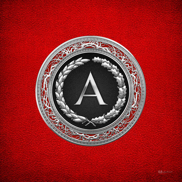 C7 Wall Art - Digital Art - A - Silver Vintage Monogram On Red Leather by Serge Averbukh