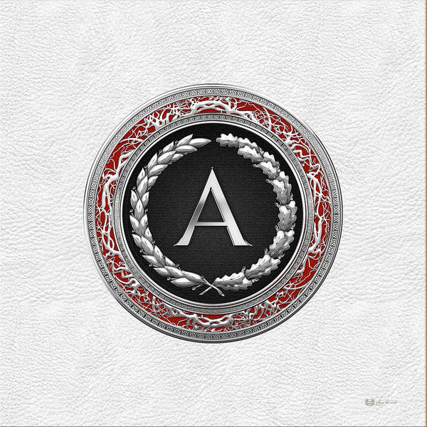 Digital Art - A - Silver Vintage Monogram On White Leather by Serge Averbukh