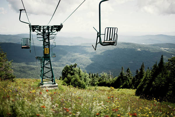 Waitsfield Photograph - A Single Person Chairlift During Summer by Corey Hendrickson