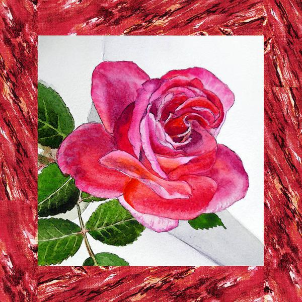 Wall Art - Painting - A Single Rose Juicy Pink  by Irina Sztukowski