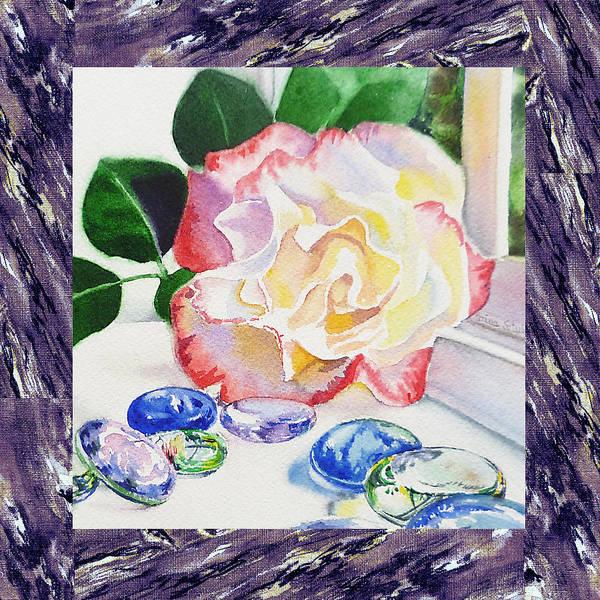 Full Bloom Painting - A Single Rose Mable Blue Glass by Irina Sztukowski
