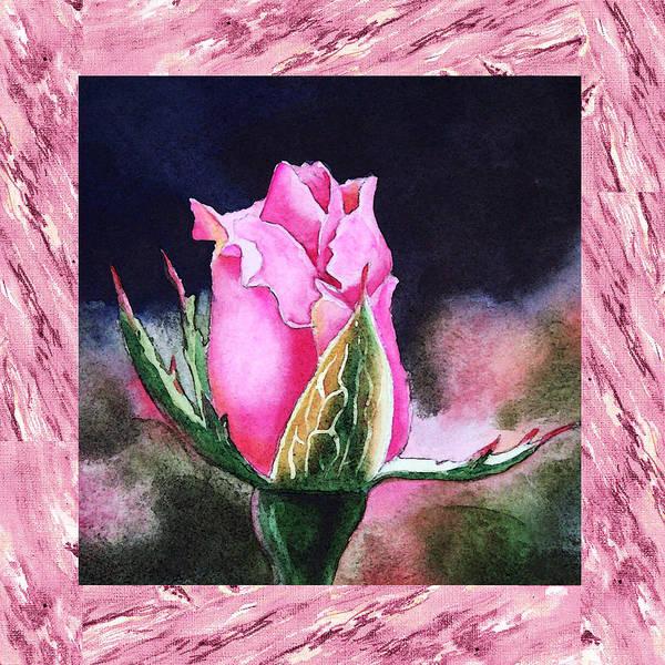 Full Bloom Painting - A Single Rose Pink Beginning by Irina Sztukowski