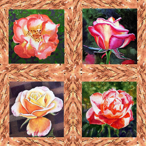 Single Rose Painting - A Single Rose Quartet  by Irina Sztukowski