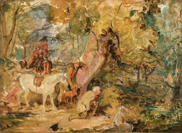 Wall Art - Painting - A Sketch For `foresters Stalking Deer Sketch by Litz Collection