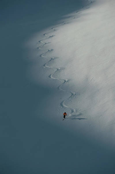 Bugaboo Photograph - A Ski Guide Dances With A Mountain by Topher Donahue