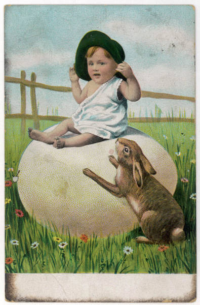 Grass Field Drawing - A Small Boy Sits On A Large Easter Egg by Mary Evans Picture Library