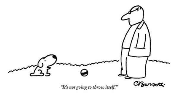 Stripe Drawing - A Small Dog Sits A Short Distance Away by Charles Barsotti