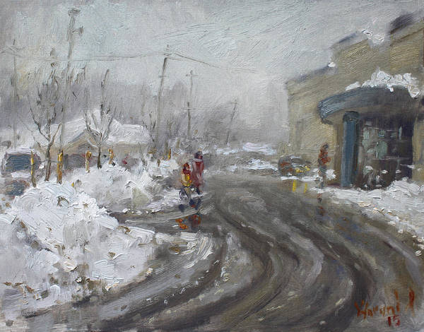 Tool Painting - A Snow Day At Mil-pine Plaza by Ylli Haruni