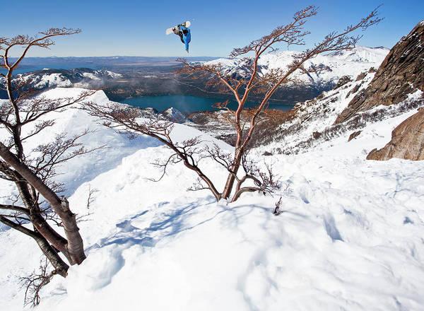 A Snowboarder Hits A Jump Art Print