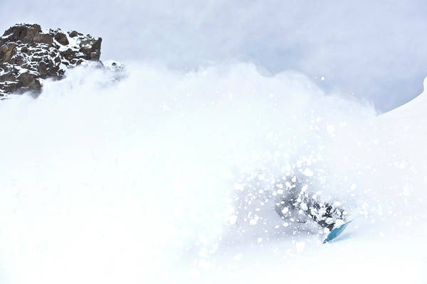 Silverton Photograph - A Snowboarder Rides Through A Cloud by Rob Hammer