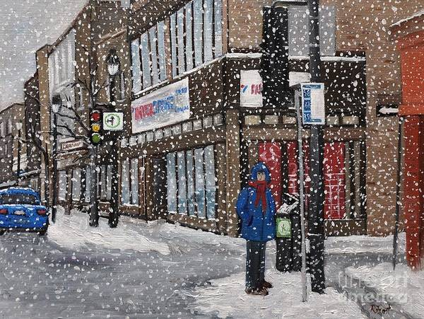 Montreal Street Scene Wall Art - Painting - A Snowy Day On Wellington by Reb Frost