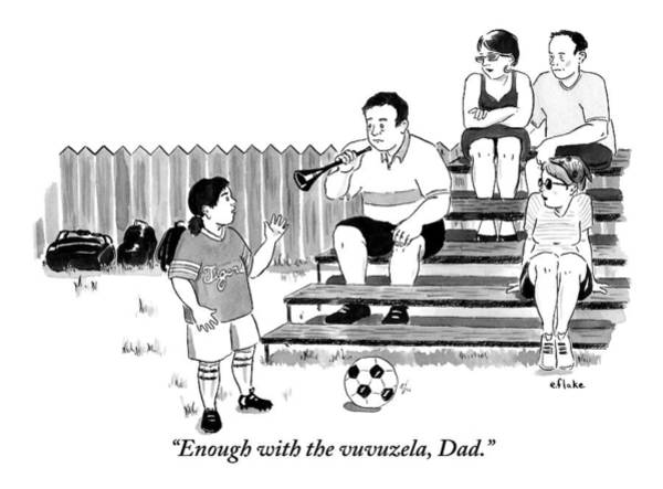 World Drawing - A Soccer-playing Little Girl Chastises Her Father by Emily Flake
