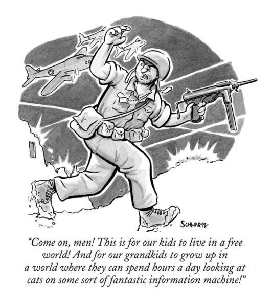 Grown Up Drawing - A Soldier Holding A Gun Runs Through Battle by Benjamin Schwartz