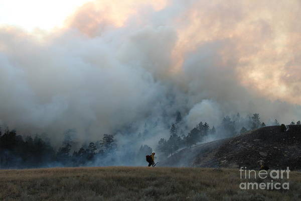 A Solitary Firefighter On The White Draw Fire Art Print