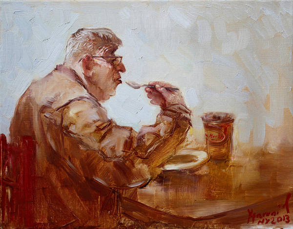 Wall Art - Painting - A Soupe Break At Tim Hortons by Ylli Haruni