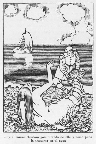 Spanish People Drawing - A Spanish Fisherman Nets A  Mermaid by Mary Evans Picture Library