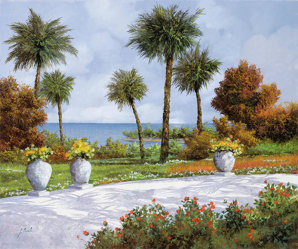 Light Green Painting - A Spasso Tra Le Palme by Guido Borelli