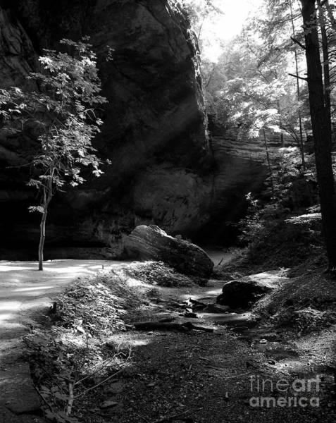 Hocking Hills Photograph - A Special Light Bw by Mel Steinhauer