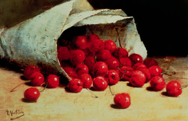 Containers Painting - A Spilled Bag Of Cherries by Antoine Vollon