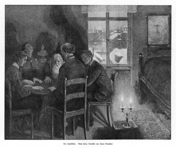 Paranormal Drawing - A Spirit Seance In A Garret by Mary Evans Picture Library