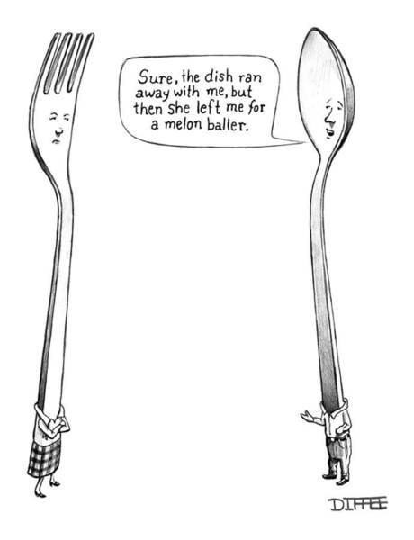 Breakup Drawing - A Spoon Talks To A Fork by Matthew Diffee