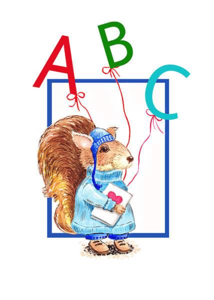 Painting - A Squirrel Who Really Loves To Read by Irina Sztukowski