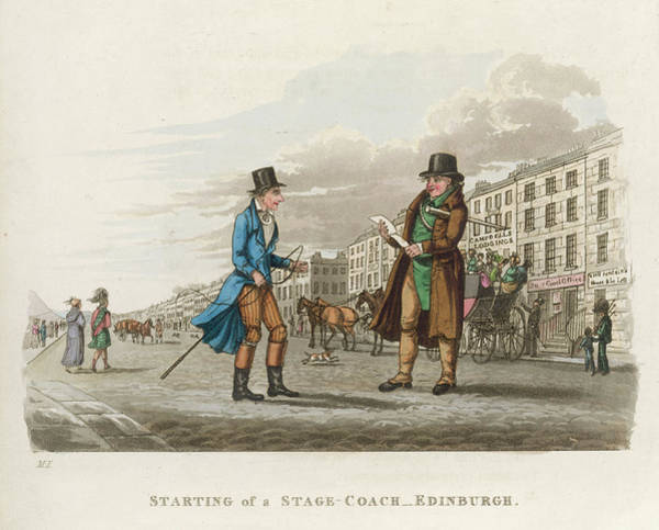Wall Art - Drawing - A Stagecoach Leaving From Prince's by Mary Evans Picture Library