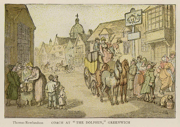 Wall Art - Drawing - A Stagecoach Sets Down  Passengers by  Illustrated London News Ltd/Mar