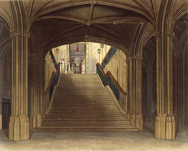 Pier Drawing - A Staircase, Windsor Castle, From Royal by Charles Wild