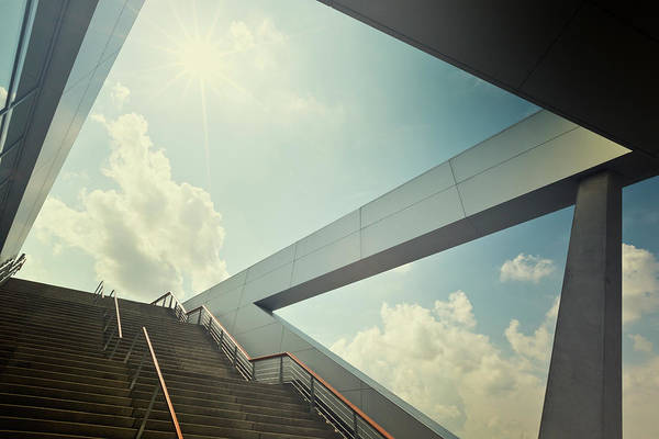 Stairway To Heaven Wall Art - Photograph - A Stairway Leading Up To Blue Sky With by 35007