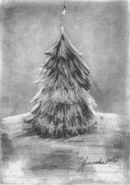 Evergreen Trees Drawing - A Star Above by J Ferwerda