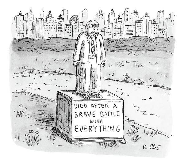 Battle Drawing - A Statue Of A Man Reading by Roz Chast