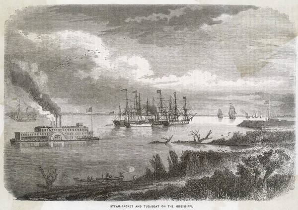 Mississippi River Drawing - A 'steam-packet' And Tug-boat by Mary Evans Picture Library