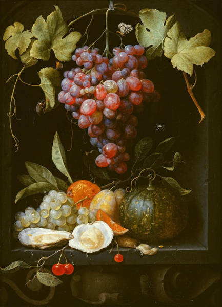 Wall Art - Painting - A Still Life With Grapes A Melon An Orange Plums And Oysters In A Stone Niche by Joris van Son