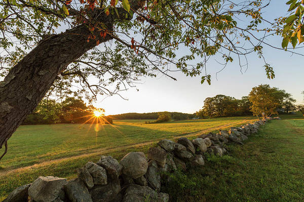 Essex Photograph - A Stone Wall And Field At Sunrise by Jerry and Marcy Monkman