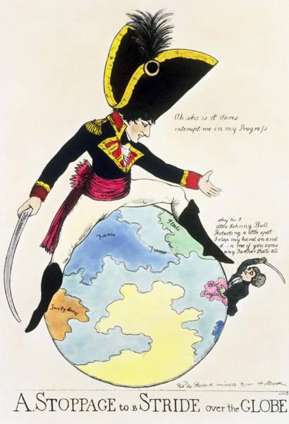 Napoleon Photograph - A Stoppage To A Stride Over The Globe, 1803 Litho by English School