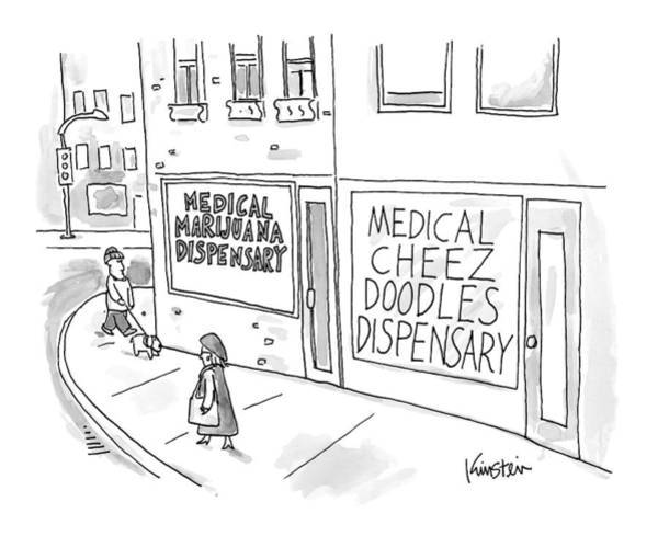 Storefront Drawing - A Storefront Medical Marijuana Dispensary by Ken Krimstein
