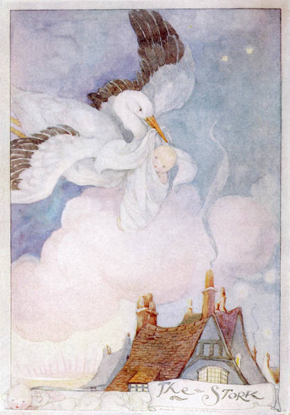 Folklore Drawing - A Stork Flies Over The  Rooftops by Mary Evans Picture Library