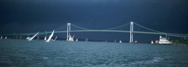 Narragansett Photograph - A Storm Approaches Sailboats Racing by Panoramic Images