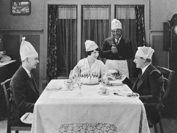 Photograph - A Strange Birthday Party Scene by Underwood Archives