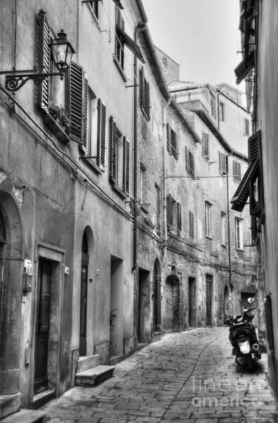 Photograph - A Street In Tuscany 2 Bw by Mel Steinhauer