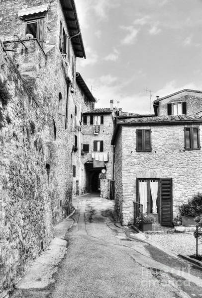 Photograph - A Street In Tuscany Bw by Mel Steinhauer