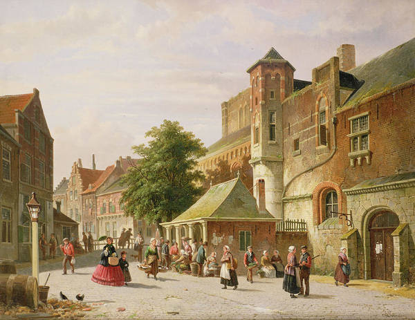 Holland Wall Art - Photograph - A Street Scene In Amsterdam by Adrianus Eversen