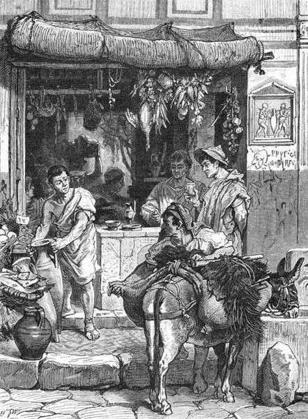 Reconstruction Drawing - A Street Tavern In Pompeii by Mary Evans Picture Library