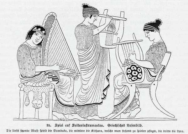 Trio Drawing - A String Trio In Classical  Greece - by Mary Evans Picture Library