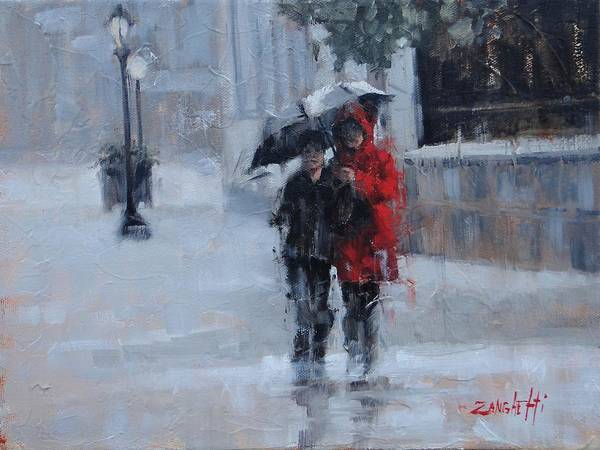Pavement Wall Art - Painting - A Stroll In The Rain by Laura Lee Zanghetti