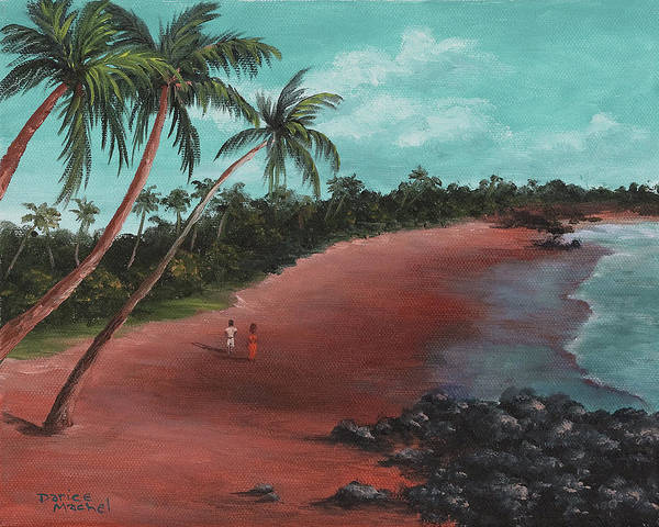 Painting - A Stroll On A Tropical Beach by Darice Machel McGuire