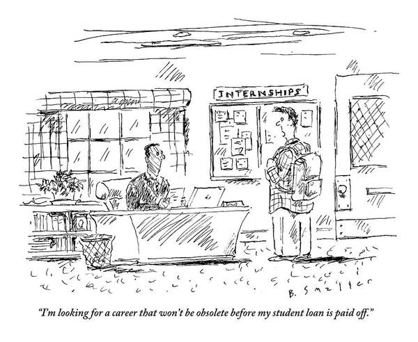 Career Drawing - A Student Goes To The Career Office For Advice by Barbara Smaller